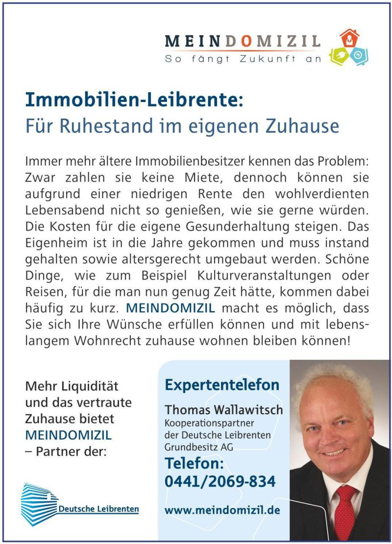 HAUS-Verrentung jetzt auch in Papenburg möglich!