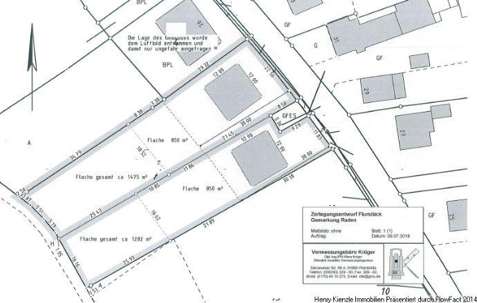 NUR 12 KM BIS GROSSENHAIN !! Großzügig geschnittener Einfamilien-Bauplatz in Raden