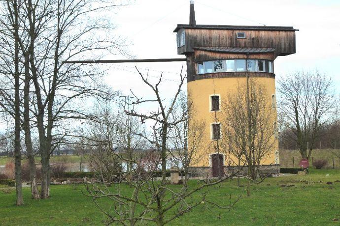 Historischer Turmdrehkran mit Panoramablick ins Elbland
