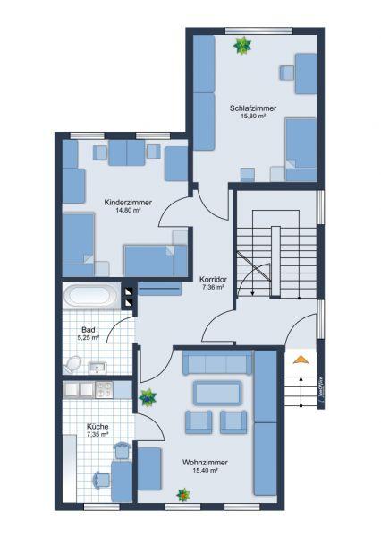 Neu sanierte 3 Raum Wohnung - Parterre - Altersgerecht