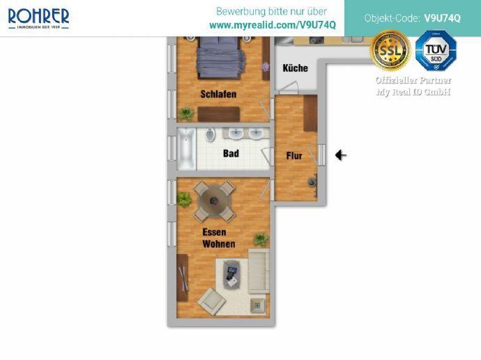 Giesing - 2 Zimmer, Küche, Bad/WC, Flur