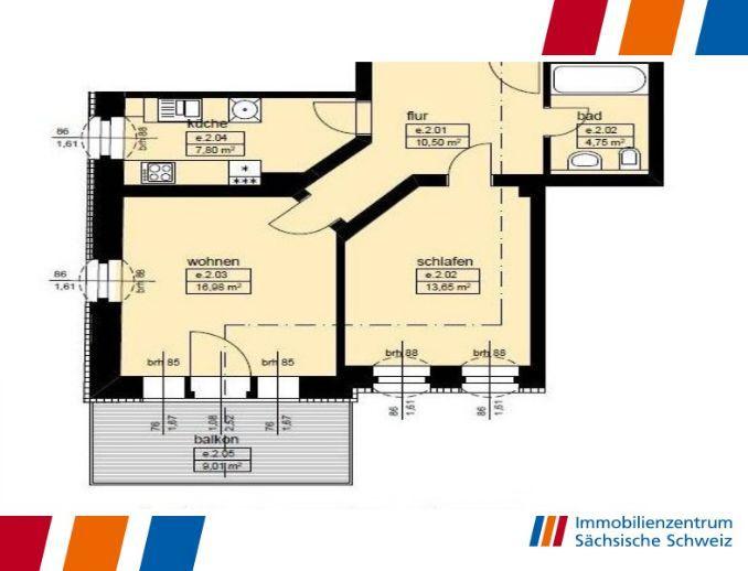 fairmietung: 2 Raumwohnung mit Balkon!